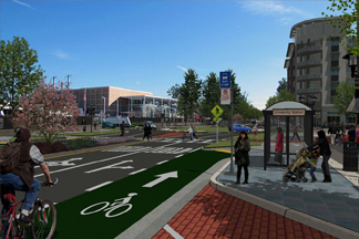 a vision rendering of a complete street in morrow georgia