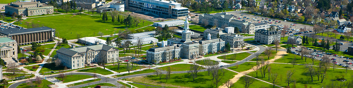 Aerial shot of University at Buffalo South Campus; Home of the Center for Inclusive Design and Environmental Access