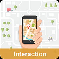 illustration of hand holding phone with a map in the background