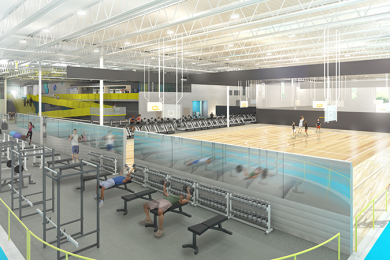 people exercising inside the mary free bed ymca building