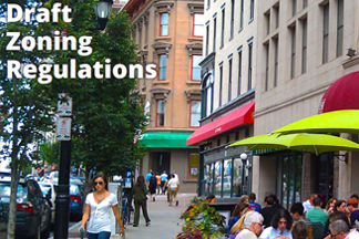 people walking and dining outdoors in hartford on the cover of draft zoning regulations report