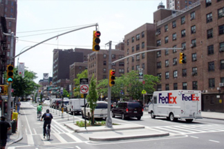 streetscape with separate lanes for bikes and cars