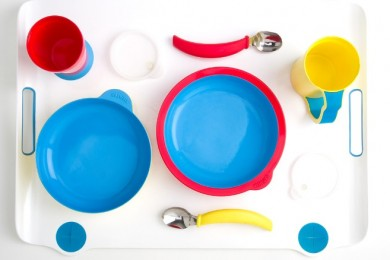tableware with bright colors and various shapes