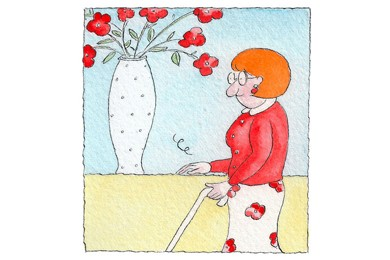 illustration of blind woman touching table surface