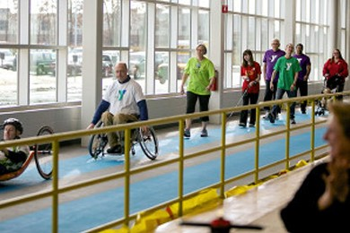 people walking inside the mary free bed ymca