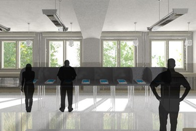 interior rendering of polling station