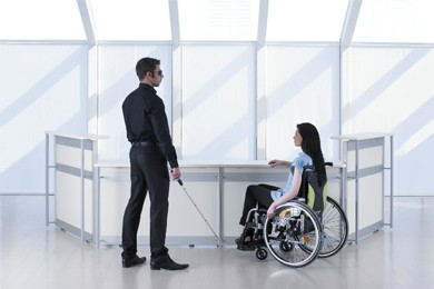 universally designed furniture being used by people with disabilities