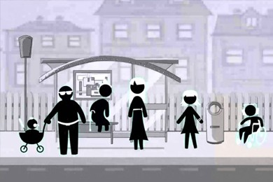 illustration of diverse people at bus stop
