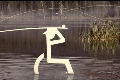 wheelchair user symbol sitting in water