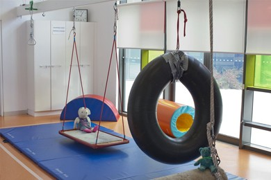 play equipment hanging in recreation room