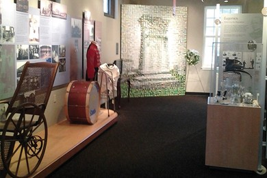 interior view of the museum of disability history's exhibits that help create awareness and establish a platform for dialogue and discovery