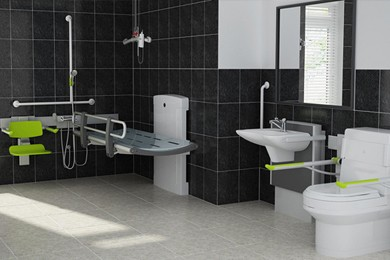 rendering of bathroom designed with universal design features