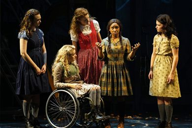 """Ali Stroker, second from left, in """"Spring Awakening."""" Credit Sara Krulwich/The New York Times"""