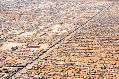 aerial view of The Zaatari refugee camp in Jordan