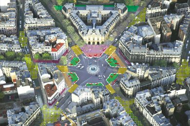 Plans for Paris's Place Gabetta, with shaded areas showing more space for trees and pedestrians.