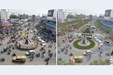 before and after photos of streets converted to complete streets