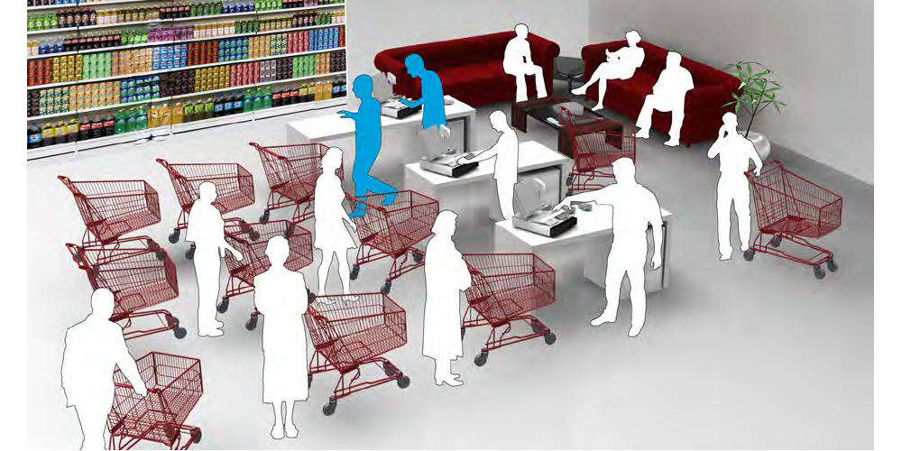 rendering of a grocery store checkout area
