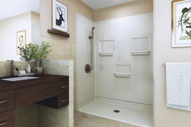 bathroom design with wheelchair clearance under sink and roll in shower
