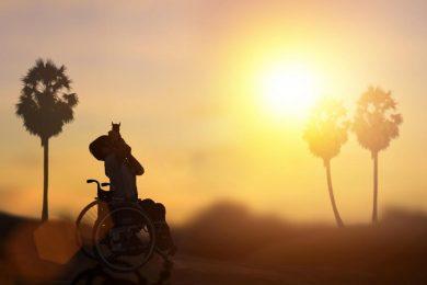 wheelchair user in sun